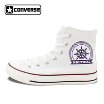 Sailing Design Canvas Shoes Nautical Anchor Rudder White Converse Sneakers - $99.00