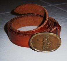 Polo Ralph Lauren Leather Belt w Polo Player Buckle Size 34 VINTAGE - $229.94
