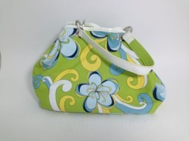 Strada Reversible Green and Blue Floral with Solid Green Satchel Bag 10 ... - $442,14 MXN