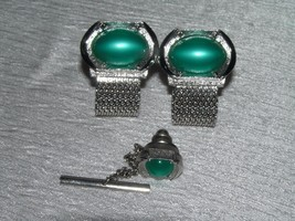 Vintage Swank Silvertone w Oval Green Plastic Moonglow Cab Demi Tie Tac ... - $13.99