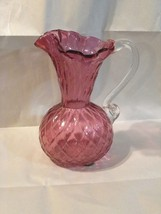 "Fenton Cranberry Clear Handle Ruffled Diamond Pattern Pitcher. 7"" - $14.36"