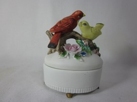 "LEFTON TRINKET BOX 3.5"" Red Yellow Birds on Branch Hand Painted Porcelain 3433 - $12.86"