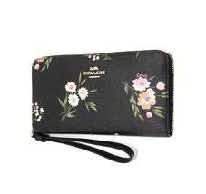 NWT COACH Large Phone Wallet Clutch Wristlet Floral Daisy Print Black F7... - £77.62 GBP