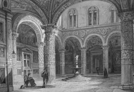 ITALY FLorence Old Palace Court - 155 Years Old Antique Print Engraving - $30.60