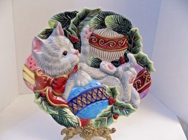 FITZ & FLOYD KRISTMAS KITTY CANAPE COOKIE PLATE CHRISTMAS CAT FF DECORAT... - $9.50