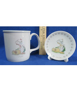 Precious Moments October Birthday Mug Cup 1987 & Mini Month Plate 1989 L... - $9.89
