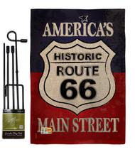 Route 66 Burlap - Impressions Decorative Metal Garden Pole Flag Set GS11... - $33.97
