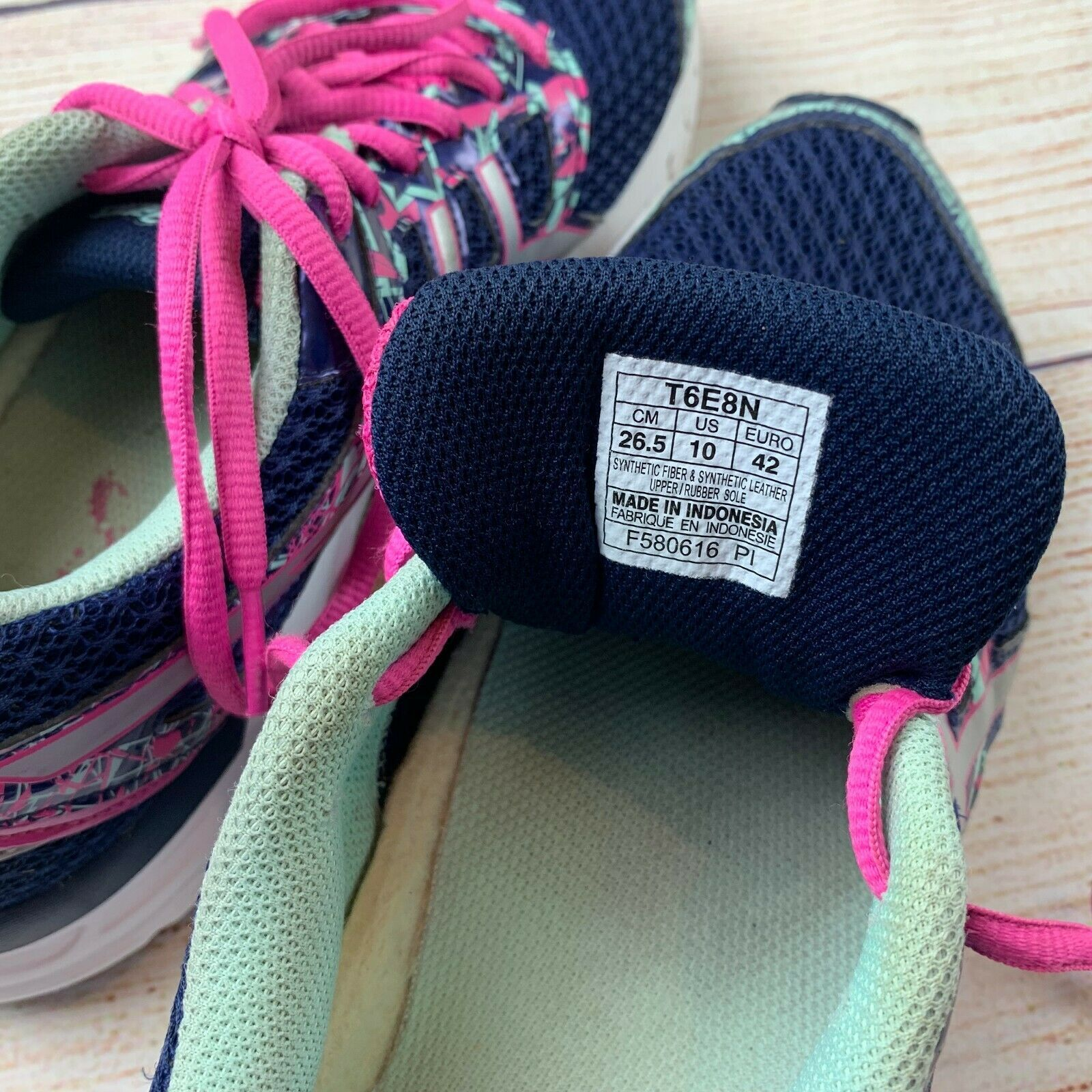 Asics womens Gel Excite 4 Navy Pink Running Shoes Sneakers 10/ 42 EUC image 7