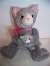 Mother & Baby Gray Kitty Cat Blue Eyes Infant Rattle Applause Plush Russ Toy - $5.32