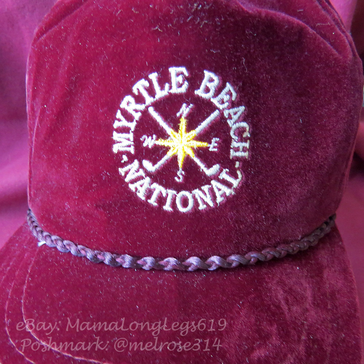 Vintage 1980s Myrtle Beach Golf National Velour Velvet Strapback Hat Cap Rope