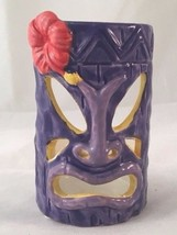 Tiki Votive Candle Holder Yankee Candle Purple w/ Pink Flower Polynesian... - $9.84