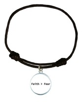 Faith > Fear Religious White Circle Leather Bracelet Unisex Jewelry Chri... - $14.84