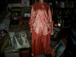 CAROLE LITTLE St Tropez Sunburst Orange Satin Blouse+Skirt Set  Size 12 - $49.50