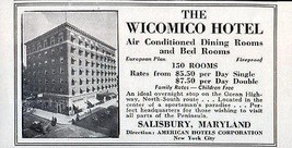 Wicomico Hotel Salisbury Maryland 150 AC Rooms Sports 1956 Travel Touris... - $10.99