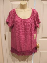 Nwt $26 St. Johns Bay Cranberry White Striped Top Size Large - $12.61