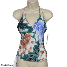 NWT Hula Honey Side Tie Tankini Swimsuit Top Size Small Padded Floral Pr... - $21.78