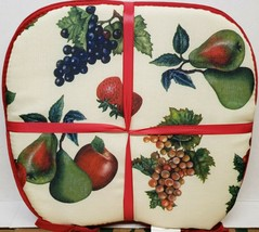 """SET OF 4 KITCHEN CHAIR PADS CUSHIONS w/ red strings,15"""" x 15"""", FRUITS MI... - $22.76"""