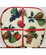 "SET OF 4 KITCHEN CHAIR PADS CUSHIONS w/ red strings,15"" x 15"", FRUITS MI... - $22.76"
