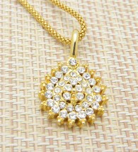Rhinestone Tear Drop Pendant Gold Tone Rope Chain Necklace Vintage - $24.74