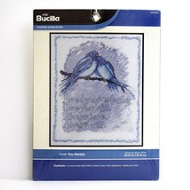 Cross Stitch Picture Kit Bird Love You Always 8 x 10 Stocking Stuffer Bucilla - $14.80