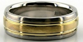 10K Solid Gold 7mm Wedding Bands Two Tone Wedding Bands Ring Size 4-13 M... - $299.20
