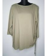 PURE J.JILL Green Olive Side Tie 3/4 Sleeve Shirt Top Sz Large  - $19.99