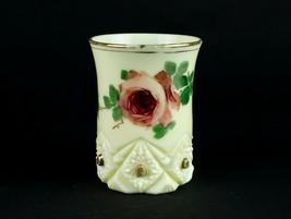 Jefferson Diamond Peg Custard Tumbler Glass w HP Large Rose, Antique EAP... - $24.50