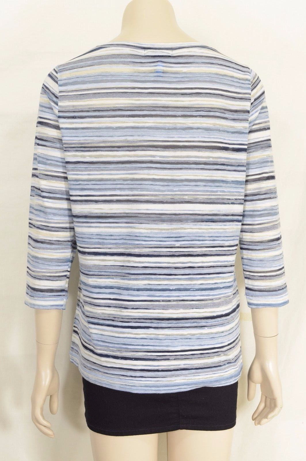 1 Ralph Lauren top M blue white stripe burnout 3/4 sleeve soft polyester cotton