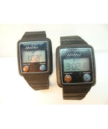 2 VINTAGE TEXAS INSTRUMENTS LITHIUM LCD WATCHES BOTH RUN FOR RESTORATION OF BAND - $279.61