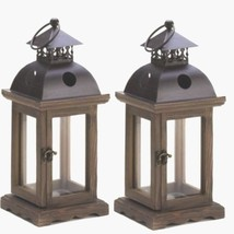 "2 Rustic Wood Lantern Small Candle Holder Wedding Centerpieces 12"" Tall - $27.72"