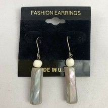 Vintage Abalone Shell Dangle Pierced Earrings NOS 80s 90s - $12.58