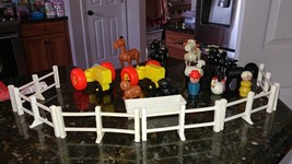 Vintage Fisher Price Little People Farm Barn Cow Sheep Tractor Pig Fence - $59.95