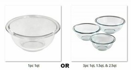 Glass Mixing Bowl 1pc or 3pcs Nests Clear Classic Sizes Dishwasher Oven ... - $39.59+
