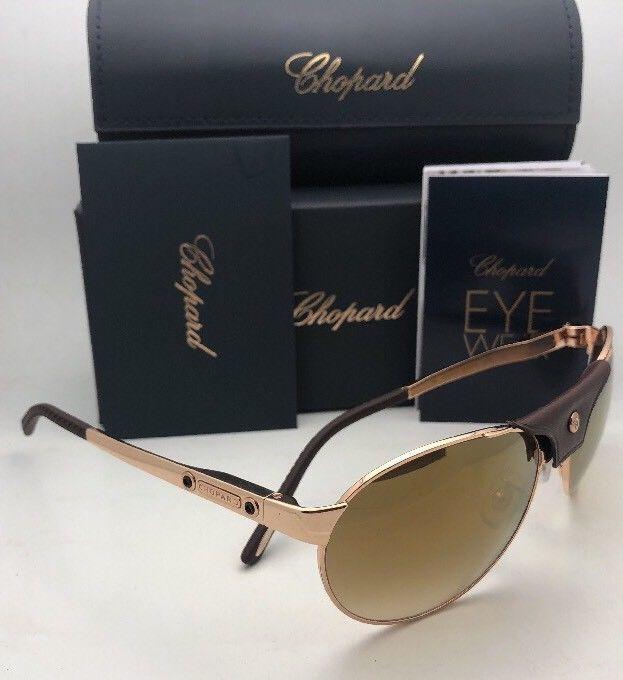 New CHOPARD Sunglasses SCH 974 0300 60-16 135 Gold Brown Aviator w/Mirror Lenses
