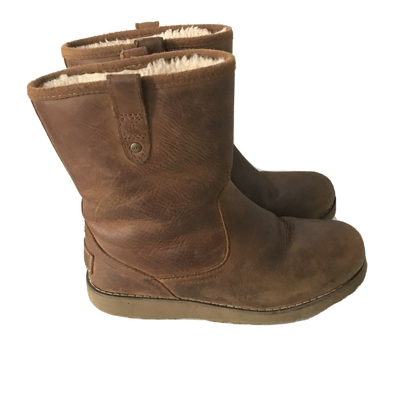 UGG Australia Redwood Chestnut Leather Sheepskin Ankle Boots Shearling Youth 3 - $43.19