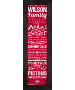 """Personalized Detroit Pistons """"Family Cheer"""" 24 x 8 Framed Print - $39.95"""