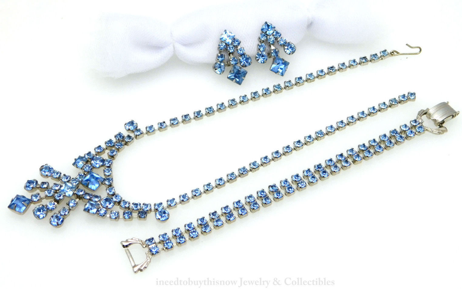 Necklace Bracelet Earrings Set Light Blue Rhinestone Vintage 3pc Parure