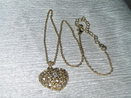 Estate Avon Marked Goldtone Twist Chain w Clear Rhinestone Cut-Out HEART Pendant - $10.39