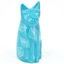 Vaneal Group Hand Crafted Carved Soapstone Light Blue Sitting Kitty Cat Figurine image 1