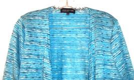 Size XL - Jones NY Blue Striped Lightweight Long Sleeve Open Jacket Sweater image 2