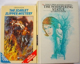 Nancy Drew 2 LOT Scarlet Slipper Mystery no.22 pb Whispering Statue no.1... - $3.50