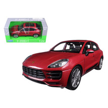 Porsche Macan Turbo Red 1/24 Diecast Model Car by Welly 24047r - $38.86
