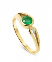 NATURAL EMERALD 0.70 CT WHITE DIAMOND ENGAGEMENT RING IN 14KT SOLID YELL... - $910.80