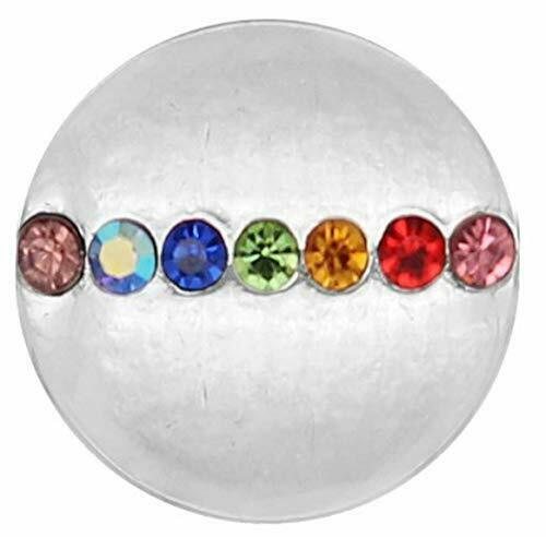 Primary image for Silver Multi Colored Rhinestone 20mm Snap Charm for Ginger Snaps