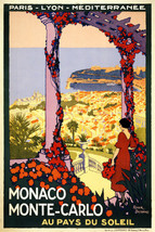 Vintage French POSTER.Monaco Monte Carlo.Room Decor.Interior design.708 - $10.89+