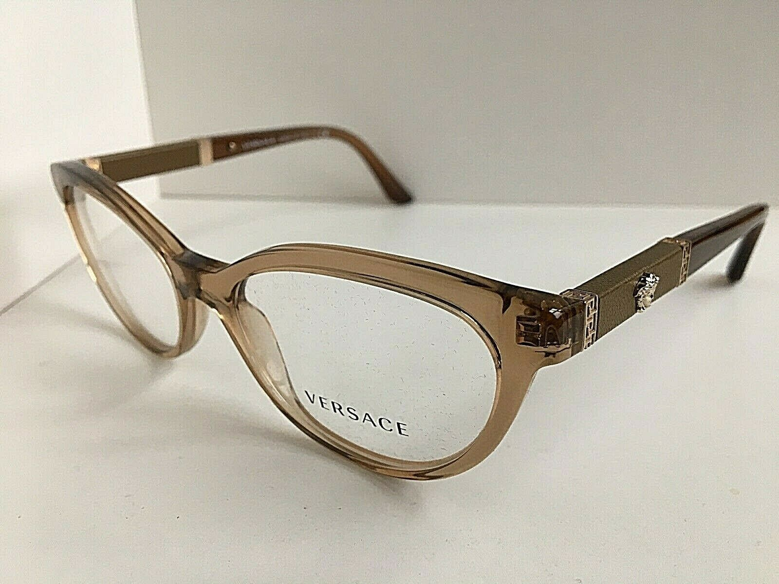 New Versace Mod. 1932-QA Clear Brown 54mm Cats Eye Eyeglasses Frame Italy