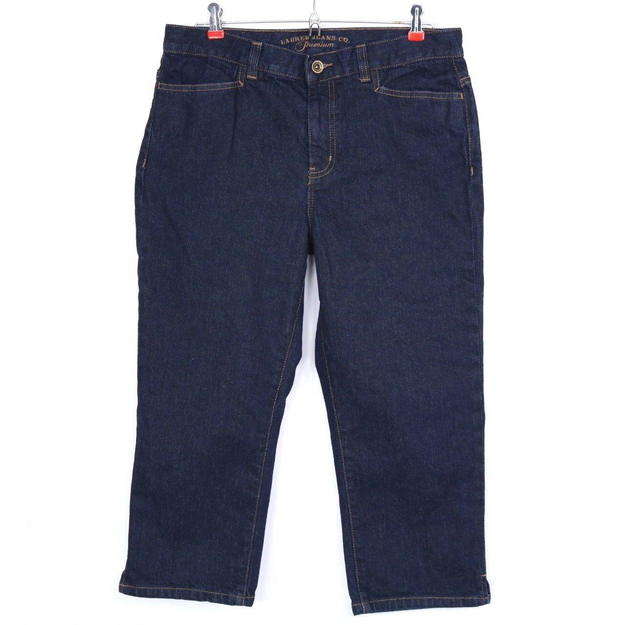 Lauren Jeans Co Womens Jeans Classic Midcalf Capri Cropped Size 8 Dark Stretch