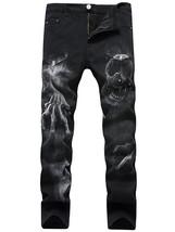 Skull Pattern Zip Fly Jeans(BLACK 36) - $38.62