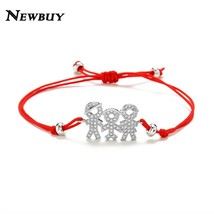 NEWBUY Family Mom & Dad & Boy & Girl CZ Charm Bracelets For Men Women Ki... - $12.79