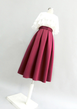 Wine Red Midi Party Skirt A-line Polyester Pleated Midi Skirt Holiday Outfit  image 3